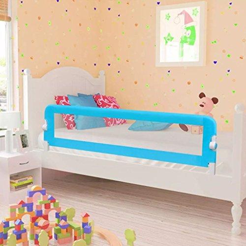 Lahomie- Barra de cama para niños pequeños, plegable de seguridad para cama de niños, barandilla de cama, protección de seguridad, 150 x 42 cm, color azul