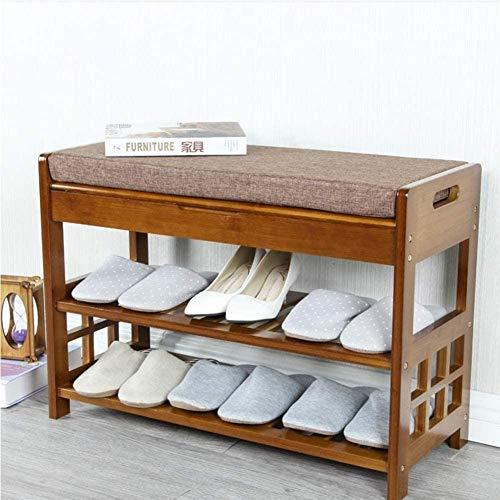 ZouYongKang Banco de la barra de zapatos, organizador de zapatos de 3 niveles de entrada, carga máxima 270 lbs, estante de almacenamiento de bambú con cojín para botas, taburete moderno para dormitori