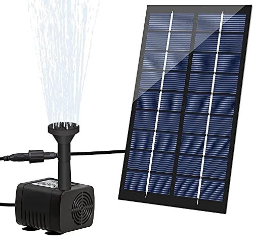 LEDGLE Solar Water Fountain 1.8W Solar Powered Pond Pump with 7 Nozzles, for Bird Bath, Pond, Garden