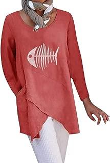 LEKODE Women T-Shirts Fashion Printed Long Sleeve Blouse