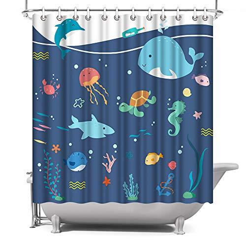 Ocean Kids Badezimmer Dekor unter dem Meer Duschvorhang Cartoon Meerestiere mit bunten Fischen, Polyestergewebe mit Haken, 72 x 72 cm, Tiefblau