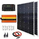 240 Watt (2pcs 120 Watt) Solar Panel Kit with 1000W 12V-110V Power Inverter for RV, Boat, Off-Grid 12 Volt Battery Systems