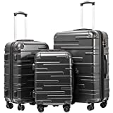 """Coolife Luggage Expandable(only 28"""") Suitcase 3 Piece Set with TSA Lock Spinner 20in24in28in (reg grey)"""