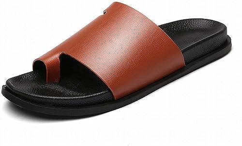 Fuxitoggo Sandales pour Hommes UK Tongs en Microfibre Sandales Flip Flop Pantoufles Homme (Couleuré   rouge marron, Taille   44)