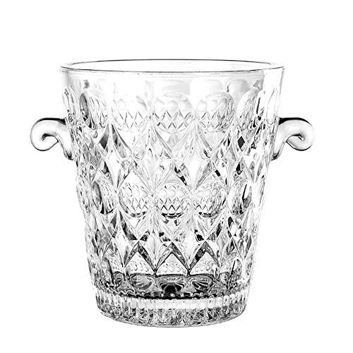 LICHAO Glas-Eiskübel mit Zange, EIS-Eimer mit Griff Transparenter Kristall gehärtetes Glas Champagner Wein Eiskübel für Bar KTV Home