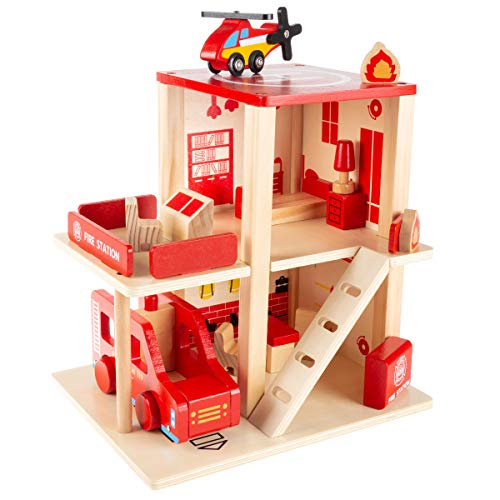 Hey! Play! Fire Station Playset- Wooden Firehouse, Truck, Helicopter & 16 More Fun Firefighting Accessories, 3-Level Pretend Play Dollhouse, Multicolor
