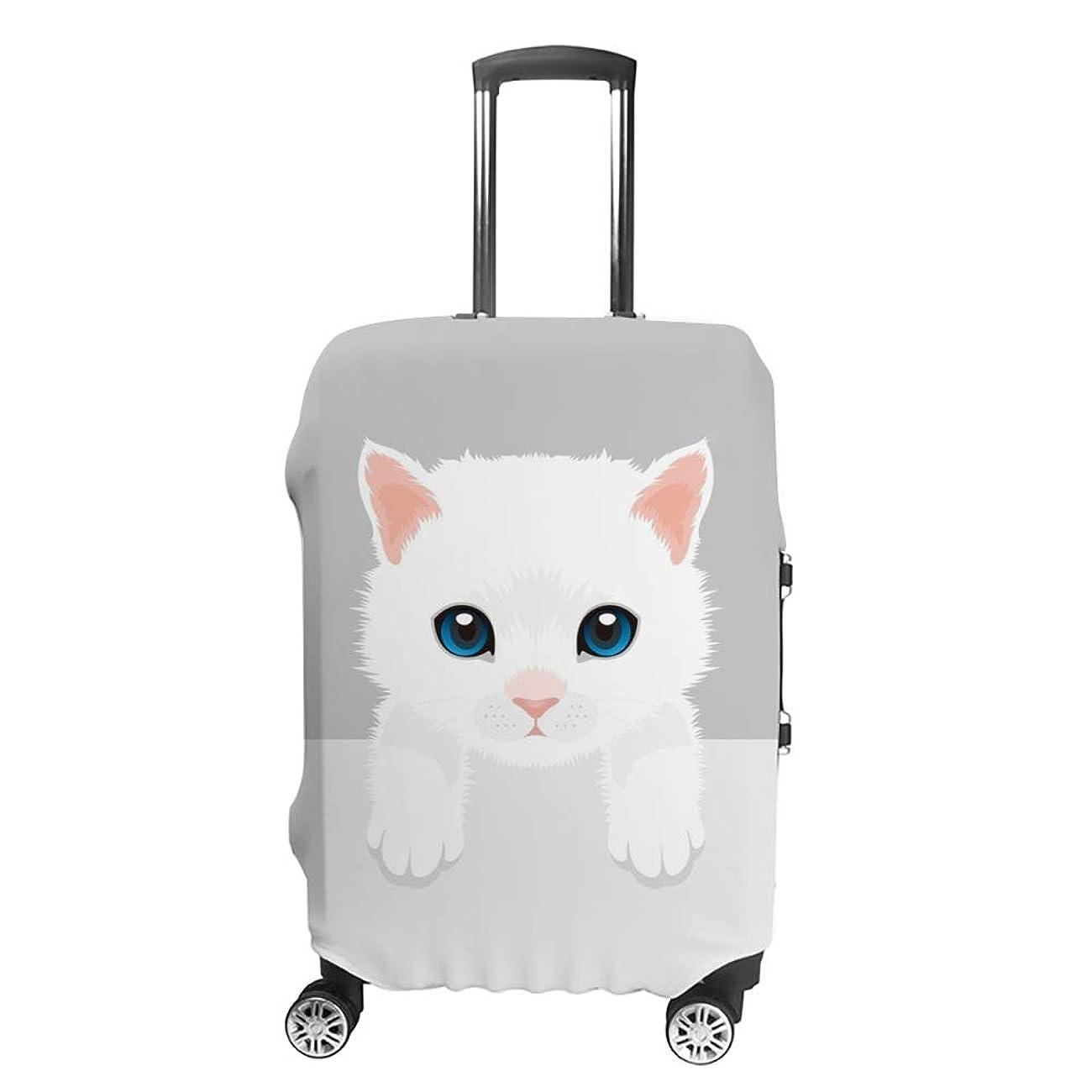 頭蓋骨捧げる誇張する旅人 スーツケースカバー 伸縮素材 猫柄 ベルシャ かわいい キャリーバッグ お荷物カバ 保護 傷や汚れから守る ジッパー 水洗える 旅行 出張 S/M/L/XLサイズ
