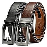 Click Belts for Men Comfort 2 Packs 1 1/4', CHAOREN Ratchet Dress Belt with Adjustable Slide Buckle, Trim to Fit in Gift Set