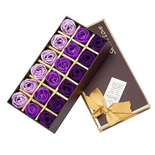 Cisixin 18 Piezas Rose Jabones Perfumados en Caja de Regalo (Púrpura)