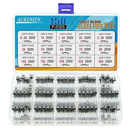 AUKENIEN 15 Valores 150 Piezas 6X30MM 250V Fusibles Cristal 0,5A 1A 1,5A...