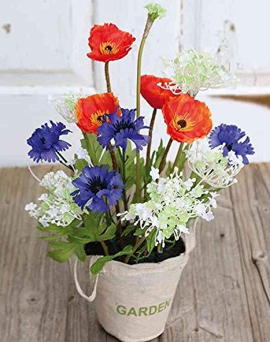 artplants.de Kornblume Mohn Gesteck künstlich Yella im Jutetäschchen, bunt, 35cm - Plastikblumen/Seidenblumen