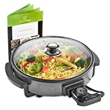 MisterChef® Multi-Function Cooker - Electric Frying Pan Cooker with Tempered Glass - 30cm - Energy Saver 1500W - Cool-Touch Handles - Free Colored Recipe Book Enclosed - 2 Year Warranty