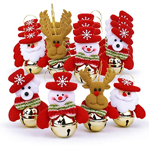 WUJOMZ 16 PCS Christmas Bells Decorations for Home, 16 Pcs Set Christmas Tree Ornaments, Snowman/Old Man/Bear/elk