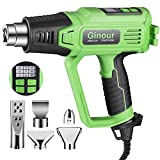 Heat Gun, Ginour Hot Air Gun Kit with Digital LED Display, 5 Nozzles,6 variable speed, Variable Temperature (122℉-1112℉) with Memory Function, for Paint Stripping, Rusty Removing