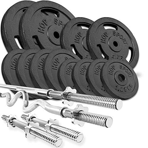 Hop Sport Cast Iron Barbell Set 66kg: 1x Barbell, 1 Super EZ Curl Bar, 2x Dumbbell with 12 Iron Weight Plates - Weight Lifting Set for Bodybuilding - Home Gym Equipment for Training Bench