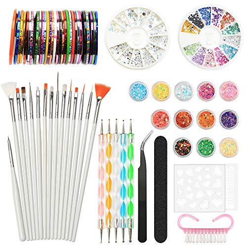 Nail Art Design Kit Set Cepillos Decoraciones Pegatinas Decoraciones con cinta Rhinestones, YZPUSI Nail Art Kit Herramientas para uñas 3D Color