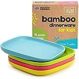 GET FRESH Bambus Kinderteller 4 Stück, Bambus Kindergeschirr, Bambusfaser Kinder Geschirr Set, BPA frei (mehrere Farben), Kinder Bambusteller für eine gesunde Ernährung