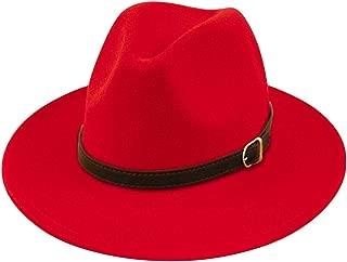 Lanzom Women Lady Felt Fedora Hat Wide Brim Wool Panama Hats with Band