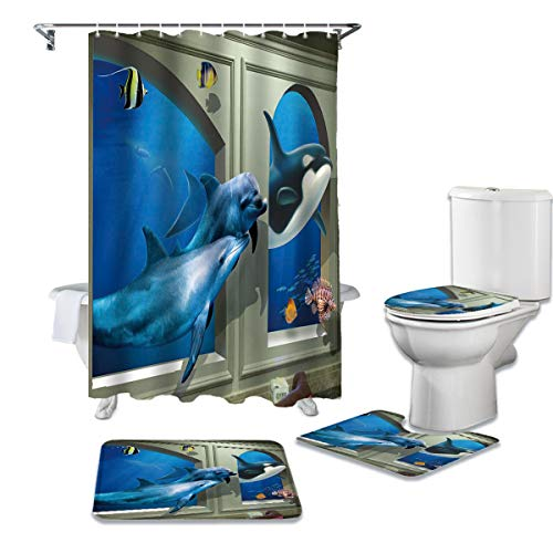 4 Pieces Shower Curtain Sets with Non-Slip Rugs, Toilet Lid Cover and Bath Mat, Underwater Whale Dolphin through Window Water-Resistant Durable Bathtub Curtain With 12 Hooks,Stall Small 36''x72''
