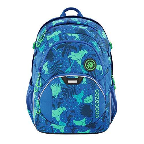 coocazoo Schulrucksack JobJobber Tropical Blue, blau-türkis, ergonomischer Tornister, höhenverstellbar mit Brustgurt und Hüftgurt für Jungen ab der 5. Klasse, 30 Liter