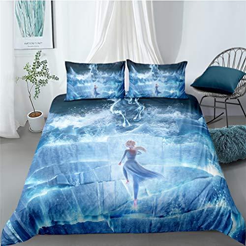 Sjj-RE Frozen 2 - Juego de funda de edredón de microfibra Frozen con funda de almohada y funda de almohada para niña, niño (Frozen #2,180 x 210 cm)