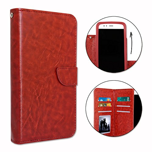 PH26 Folio Case for Acer Liquid Z530Leather Wallet with Double Flap Business Card Holder, Magnetic Snap Button Closure and Interior with Contrast Stitching