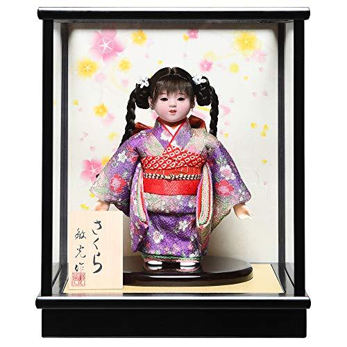 【市松人形】【雛人形】【初節句】4号市松人形:三つ編み縮緬衣装ケース付【さくら】:敏光作