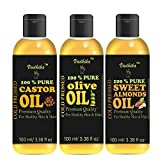 VADHIKA Pure Castor oil & Olive oil & Sweet Almonds oil combo of