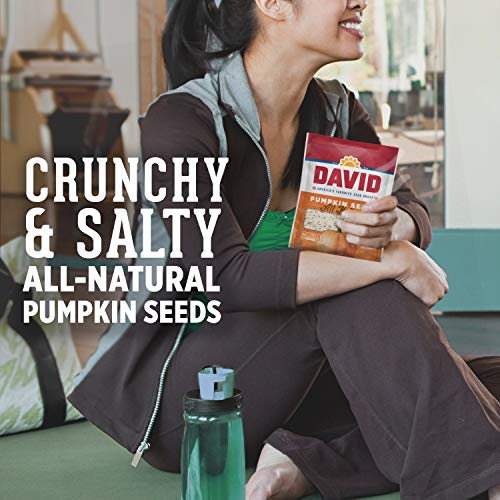 DAVID SEEDS Roasted and Salted Pumpkin Seeds, 5 oz, Keto Friendly, 12 Pack