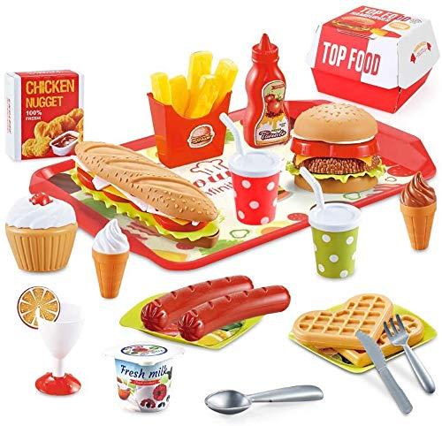 BeebeeRun 40 Piezas Alimentos de Juguete,Juguetes Niños 2 Años 3 Años,Cocinas de Juguete para niños,Regalos de cumpleaños Educacional Juegos