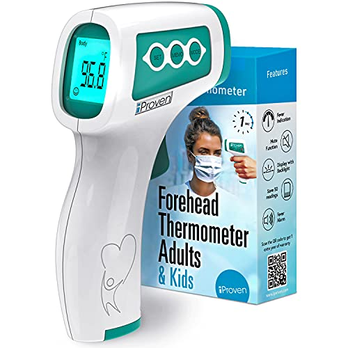 No Touch Thermometer for Adults, Kids and Babies, Touchless iProven Thermometer, 1s Instant Accurate Readings, Forehead Infrared Thermometer with Fever Alarm, Indoor, and Outdoor Use (Green)