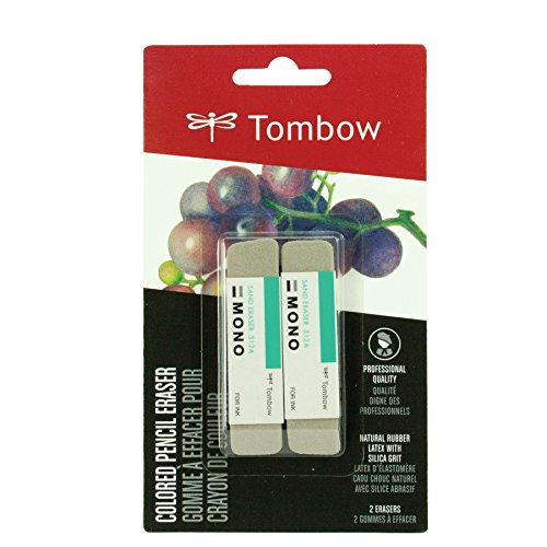 Tombow 67304 MONO Sand Eraser, 2-Pack. Silica Eraser Designed to Remove Colored Pencil and Ink Markings�