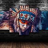 KOPASD Piy Painting 5 Piezas Cuadro sobre Lienzo Imagen Niña India nativa Americana Impresión Pinturas Murales Decor Dibujo con Marco Fotografía para Oficina Aniversario200x100cm