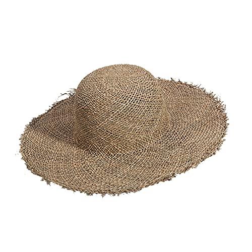 liushop Sombrero para el Sol Hierbas Naturales Sombrero de Verano Mujeres Paja Playa Visera Protección Sol Sombreros Sombrero de ala Ancha Sombrero de Playa (Color : B, Size : M)