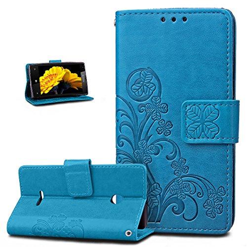Kompatibel mit Schutzhülle Microsoft Lumia 532 Hülle Handyhülle Lederhülle,Prägung Klee Blumen PU Lederhülle Flip Hülle Cover Schale Ständer Etui Wallet Tasche Hülle Schutzhülle,Klee Blumen:Blau