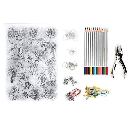 Heat Shrink Plastic Sheet Kit, 6st Heat Shrink Sheet Shrink Film met 12 kleurpotloden Perforator Oorhaken Karabijnringen Ringen voor doe-het-zelf-handwerk