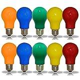 10er Set farbige LED Leuchtmittel Birnenform 3W = 25W E27 Rot Gelb Grün Blau Orange auch...