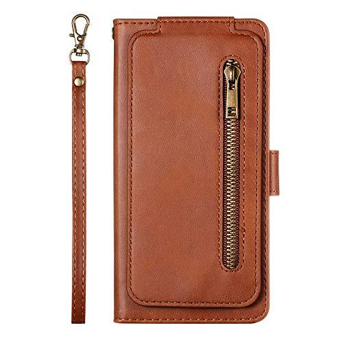 JZ [9 Card Holder Funda For para iPhone 8 Plus / 7 Plus Zipper Design PU Leather Wallet Flip Cover - Brown