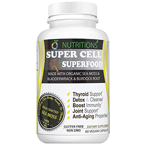 Super Cell Superfood Made with Organic Irish Sea Moss, Bladderwrack and Burdock Root, Wildcrafted Sea Moss Capsules, Vegan, Non-GMO,Seamoss Pill (1 Pack Super Cell Superfood)