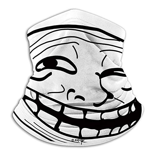 №087720 Face Mask Custom 3D Seamless Half Face Bandana Balaclava/Humor Decor,Cartoon Style Troll Face Guy for Annoying Popular Artful Internet Meme Design,Black White/Multi-Purpose Face Cover for Ou