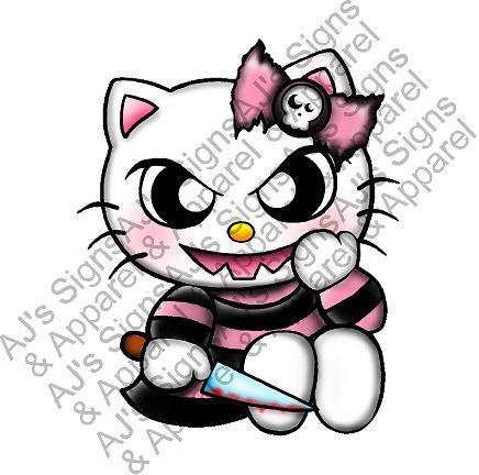 Evil Hello Kitty w/Knife Vinyl car Laptop or Window Sticker Decal 5' x 4.6'