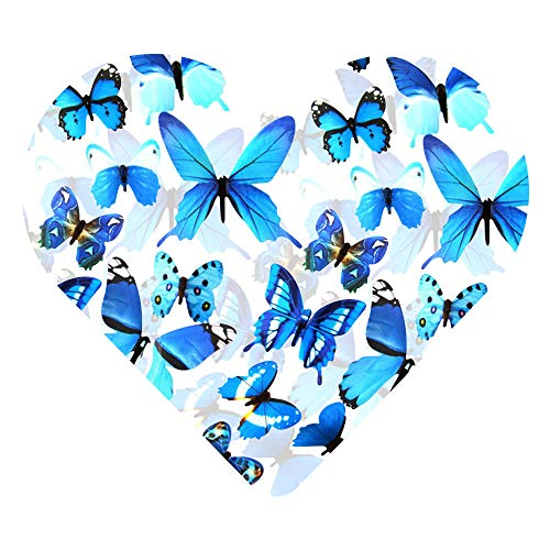 DEKOWEAR® 3D Schmetterlinge realistisch | Wanddekoration mit Klebepunkten zur Fixierung Wandtattoo Wandsticker Wanddeko | Schmetterling Deko [Blau, 12er Set]