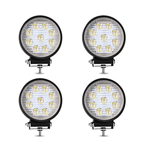 TURBO SII 4Pack 27W 4inch Spot Beam Round Led Work Light Bar Driving Fog Light Offroad Light For Tractor Off-Road SUV Boat 4X4 Jeep JK 4Wd Truck ATV 12V-24V