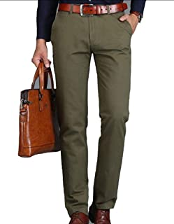 MogogoMen Casual Pants Straight Business Easy Care Basic Plain-Front Pant