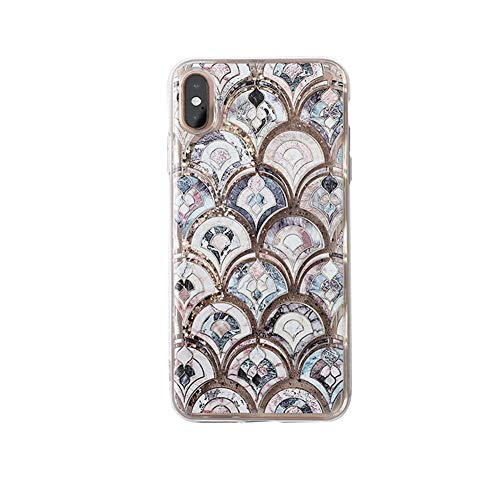 Luxury Giltter Quicksand Phone Case for iPhone XR Bling Mermaid Fish Scale Sparkle Shockproof Flexible Cover (iPhone XR 6.1'')