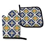 Mei-ltd – Guantes de horno y agarraderas para azulejos mexicanos Talavera en ambos lados, resistentes al calor, con mango antideslizante y texturizado para cocinar a la parrilla