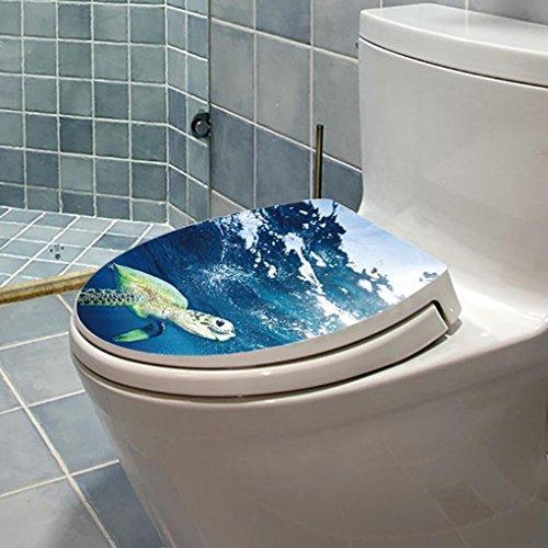Sea Turtle Impreso Etiqueta WC Pedestal Pan Tapa de Inodoro con Orinal heces Decoración del hogar