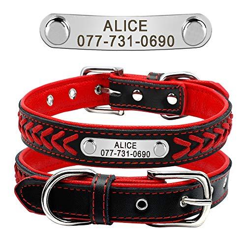 Didog Collar personalizado de cuero, collar de perro grabado de cuero trenzado con placa de identificación personalizada para perros pequeños, medianos y grandes, rojo, tamaño M