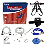 Trsmima 98 Feet Zip Line Kit for Kids and Adult Up to 350 lb with Stainless Steel Ziplines Spring Brake and Safety Harness, Zip line Trolley and Seat for Backyard Playground Entertainment Equipmen