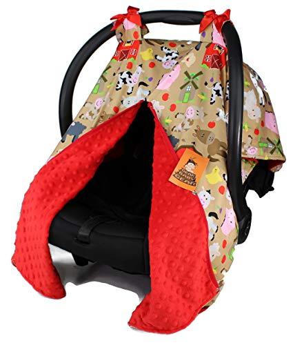 Dear Baby Gear Baby Car Seat Canopy, Tan Farm Life Animals and Barns, Red Minky